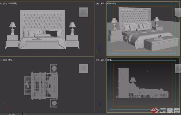 歐式詳細的整體室內臥室床設計3d模型
