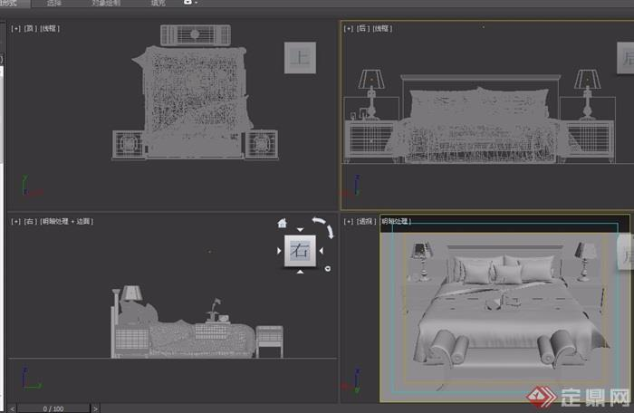 歐式整體詳細室內臥室床柜設計3d模型
