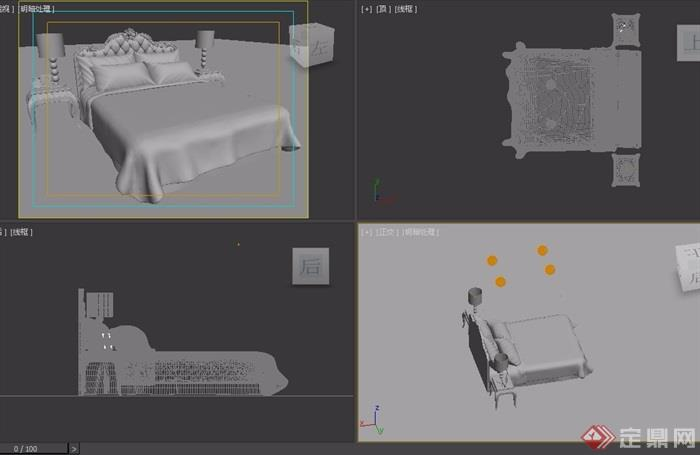 歐式獨特詳細室內臥室床素材設計3d模型