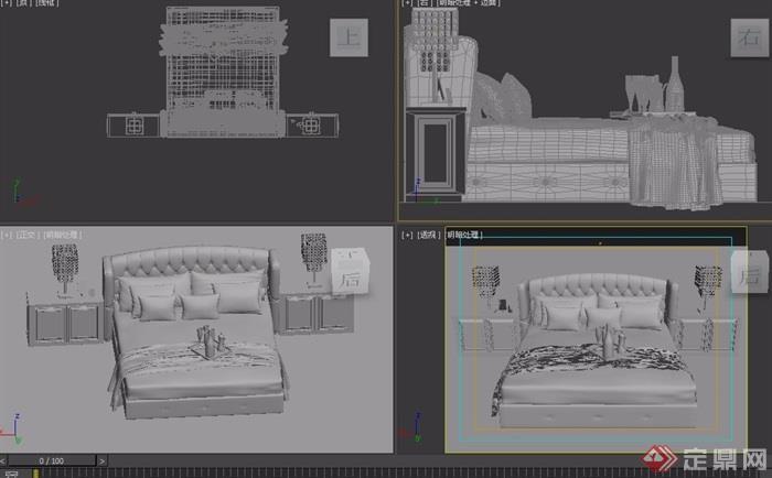 欧式室内卧室床柜详细素材设计3d模型