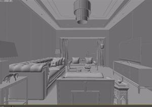 新古典中式样板房客厅沙发椅子组合3d模型