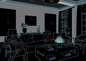 现代新中式样板房客餐厅沙发桌椅组合3d模型