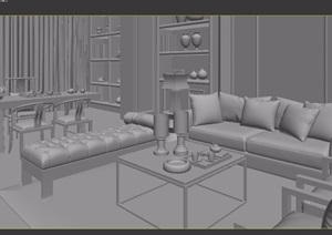 中式餐厅客厅沙发茶几书桌椅组合3d模型