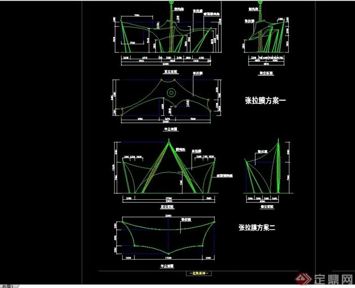 園林景觀詳細的完整張拉膜亭子cad施工圖