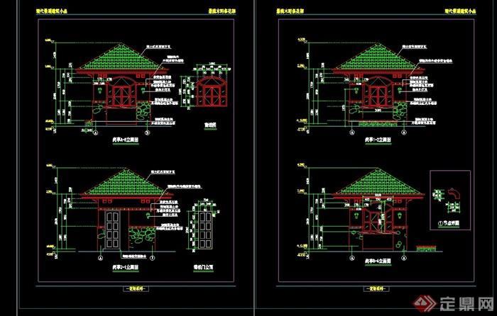 完整的中式景观详细的完整亭子cad施工图