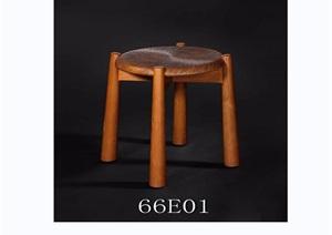 东南亚风格家具妆凳3d模型及效果图