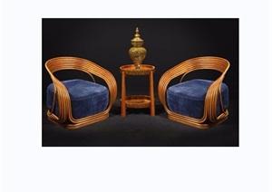 东南亚风格休闲椅子素材3d模型及效果图