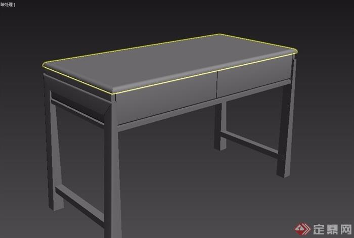 东南亚风格木质书桌素材3d模型及效果图