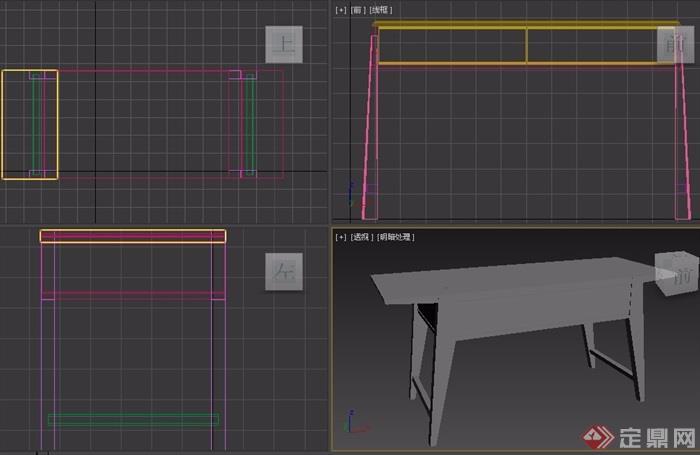 東南亞風格室內木質桌子素材3d模型及效果圖