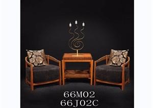 东南亚风格置物桌素材3d模型及效果图