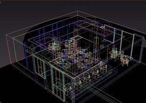 现代loft工业风格餐厅装饰3d模型