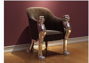 歐式虎頭沙發椅素材詳細3d模型及效果圖
