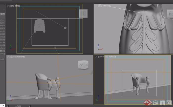 欧式虎头沙发椅素材详细3d模型及效果图