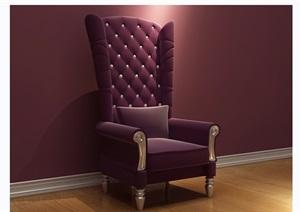 歐式沙發椅子素材完整詳細3d模型及效果圖