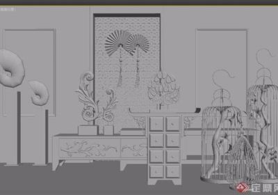 中式装饰柜案几装饰品组合3d模型