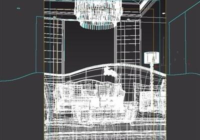 某客厅室内沙发茶几、灯饰组合设计3d模型