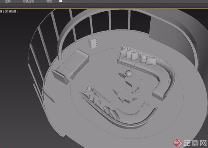 室内沙发桌子、灯饰组合设计3d模型
