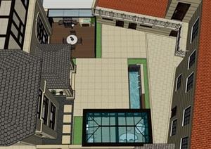 现代庭院 单臂花架 流水景墙 阳光房 门头