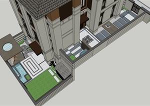 新中式庭院  花架 花格景墙 景墙鱼池 设备间