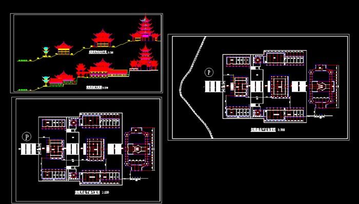 古建筑平面图、立面图、施工图、效果图案例(150套)(3)