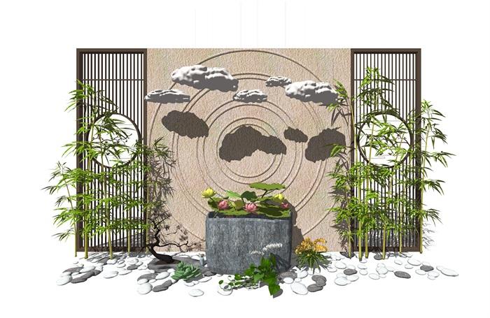 新中式景观小品 隔断植物 鹅卵石 荷花荷叶池组合(1)