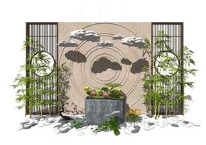 新中式景觀小品 隔斷植物 鵝卵石 荷花荷葉池組合SU(草圖大師)模型