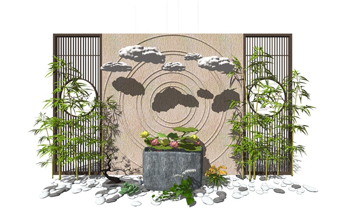 新中式景观小品 隔断植物 鹅卵石 荷花荷叶池组合(2)