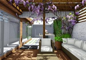 屋頂花園露臺現代風格景觀設計SU(草圖大師)模型