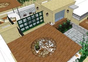 屋顶花园详细完整设计SU(草图大师)模型