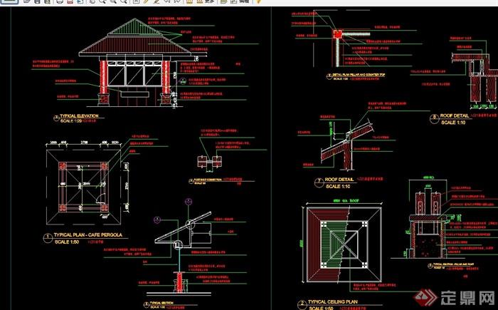 中式详细的完整亭子cad施工图
