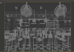 loft工业风格餐厅详细装饰3d模型