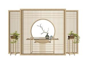 新中式屏风隔断案台盆栽组合SU(草图大师)模型