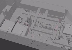 loft工业风格餐饮室内装饰3d模型