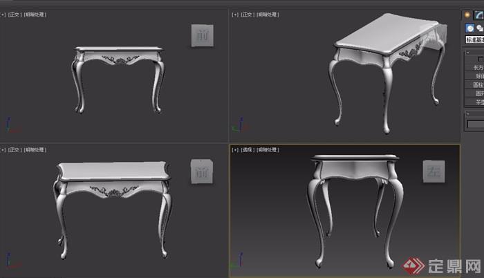 欧式浅色玄关桌子设计3d模型