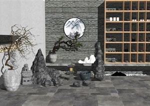 新中式隔斷 石頭假山 陶罐 小品組合SU(草圖大師)模型
