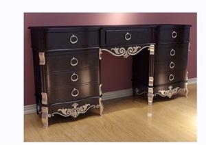 欧式风格详细的桌子柜子素材设计3d模型