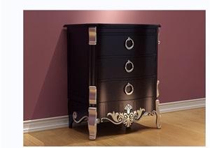 某欧式风格详细的抽屉柜素材设计3d模型及效果图