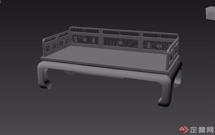 中式详细的栏杆罗汉床素材设计3d模型
