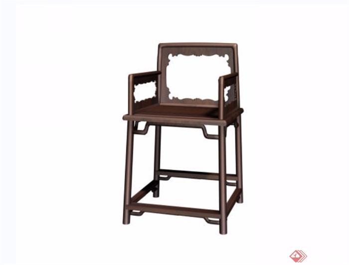 夔龙纹玫瑰椅素材设计3d模型