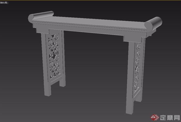 夔龙纹卷书案桌素材设计3d模型