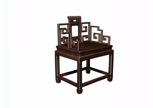 夔凤纹扶手椅素材详细设计3d模型及效果图