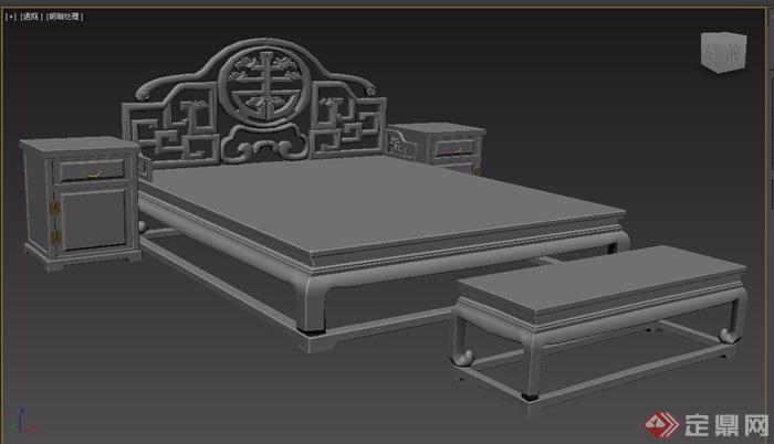 夔凤捧寿卧室床设计3d模型及效果图