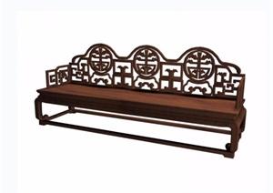 葵龙捧寿宝座三人椅素材设计3d模型