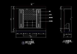 現代電視柜背景墻設計cad施工圖