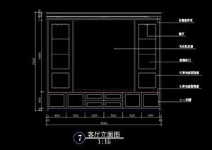 電視柜背景墻cad立面圖