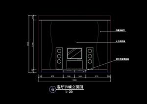電視墻設計cad立面圖