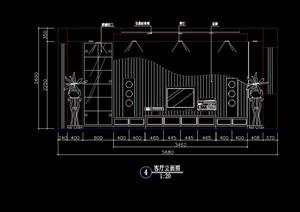 電視柜詳細客廳背景墻cad施工圖