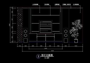 室內客廳電視柜背景墻cad立面圖