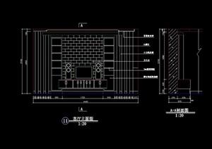 现代电视柜背景墙设计cad施工图