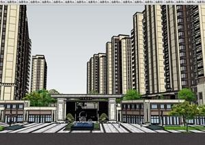 星河住宅详细的小区建筑及景观设计SU(草图大师)模型